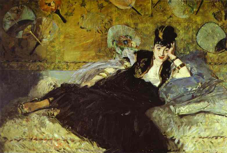 famous painting mujer con fans ( nina de callias ) of Edouard Manet