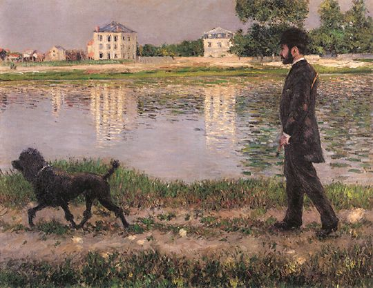 famous painting Richard Gallo y su perro en Petit Gennevilliers of Gustave Caillebotte