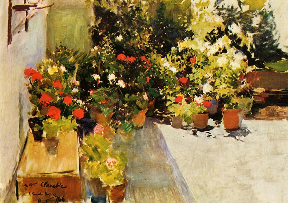 famous painting a `rooftop` con flores of Joaquin Sorolla Y Bastida