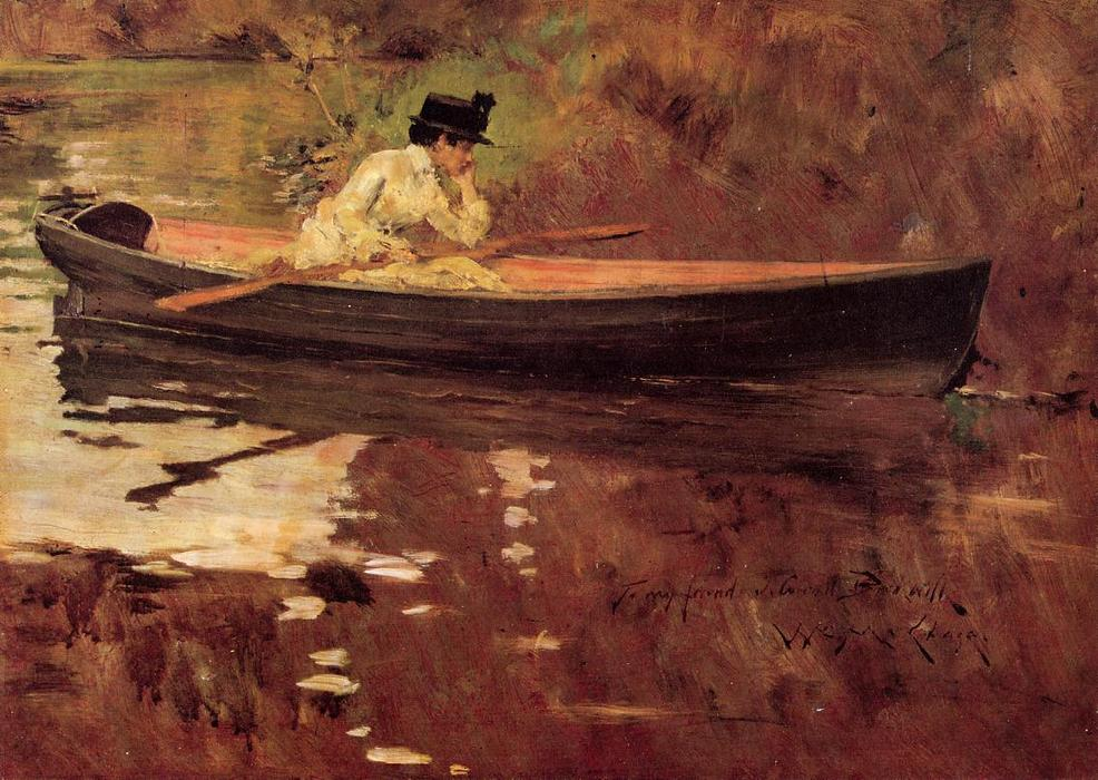 famous painting señorita PERSECUCIÓN  para  perspectiva  Parque  of William Merritt Chase