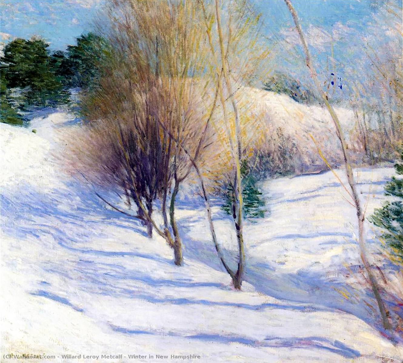famous painting Invierno en New Hampshire of Willard Leroy Metcalf