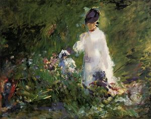 Edouard Manet - mujer joven entre los flores