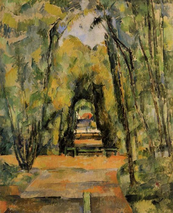 famous painting Alineado árbol Lane en Chantilly of Paul Cezanne