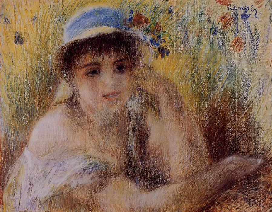 famous painting Mujer en un sombrero de paja 2 of Pierre-Auguste Renoir ff019ee4d8a3