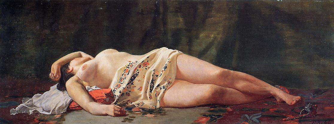 famous painting desnuda reclinada of Jean Frederic Bazille