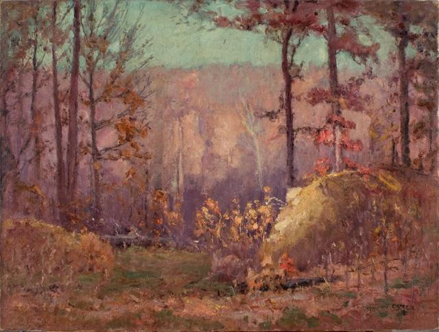 famous painting el `ravine` in otoño of Theodore Clement Steele