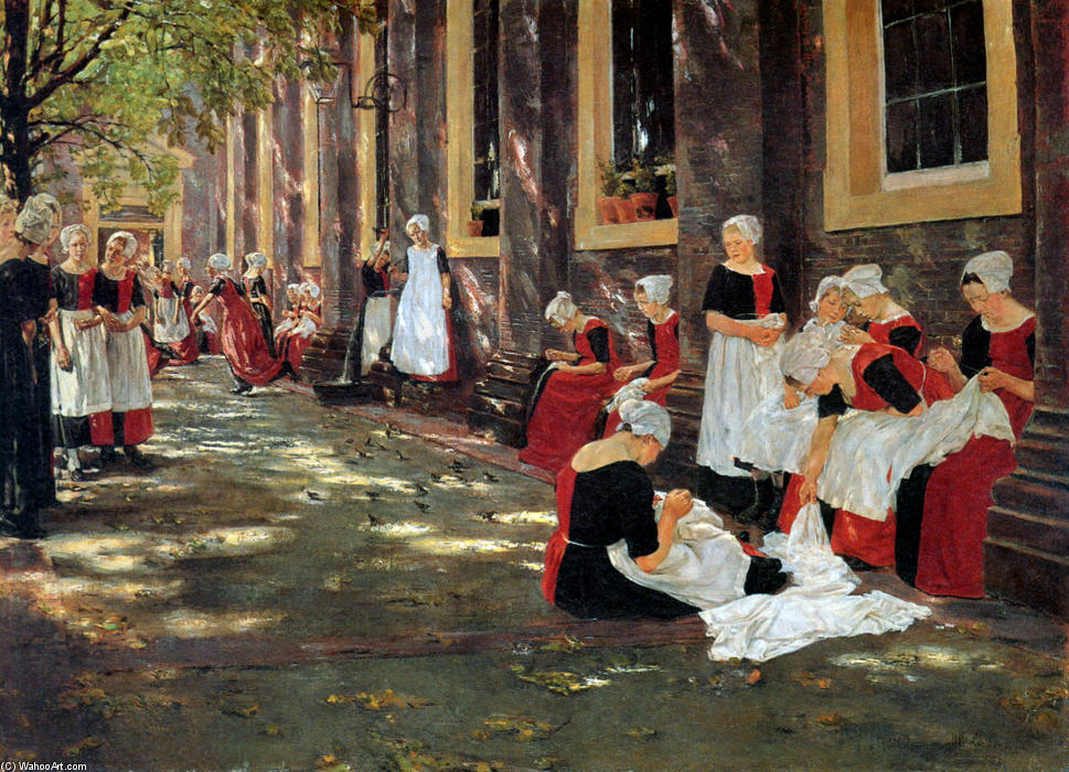 famous painting gratuito hora  a  Ámsterdam  orfanato  of Max Liebermann