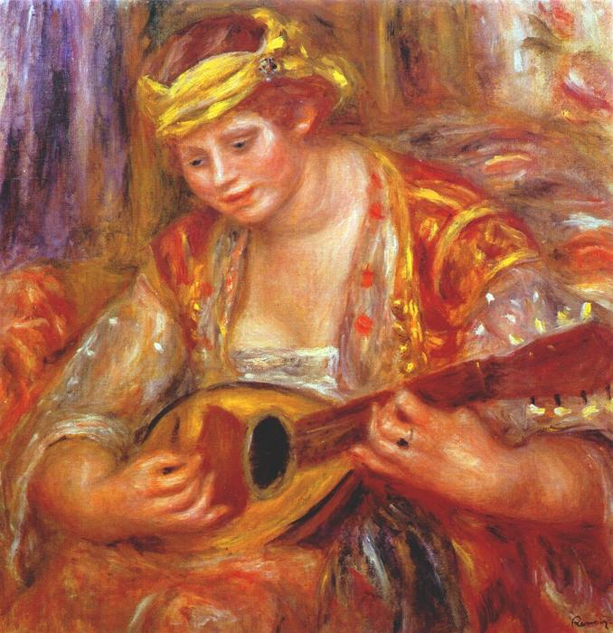 famous painting mujer con a mandolina of Pierre-Auguste Renoir