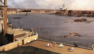 Giovanni Antonio Canal (Canaletto) - Londres: El Támesis y la City de Londres de Richmond House (detalle)