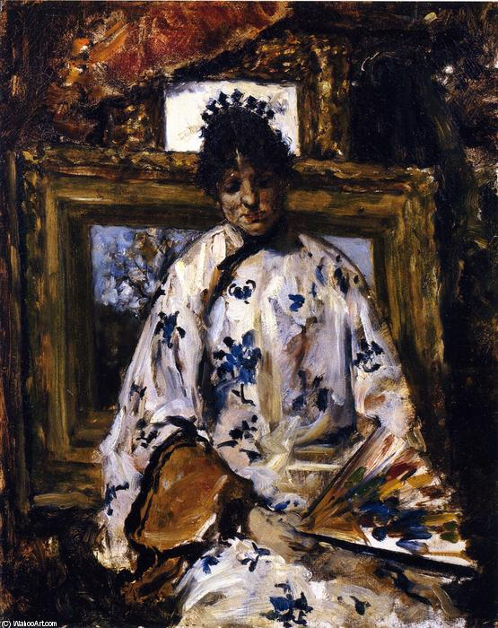 famous painting mujer en una chino  bata  of William Merritt Chase