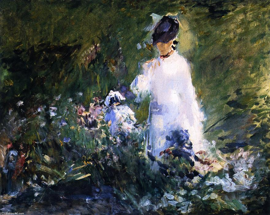 famous painting mujer joven entre  flores  of Edouard Manet