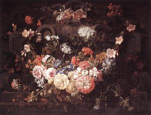 Pieter The Younger Holsteyn - Cartouche Con Flores