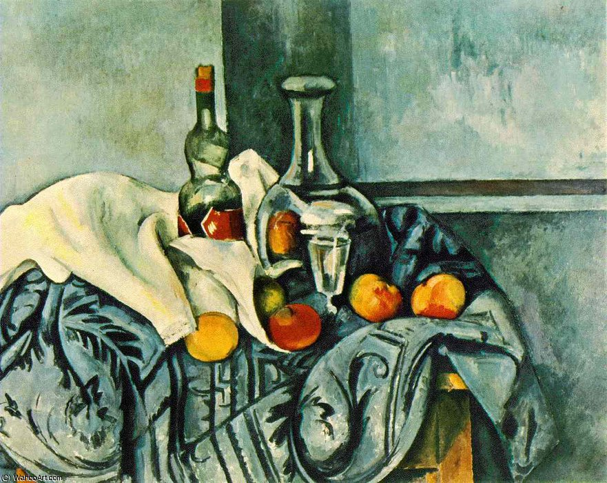 famous painting Bodegón con menta botella , 1890-94 , gn washin of Paul Cezanne