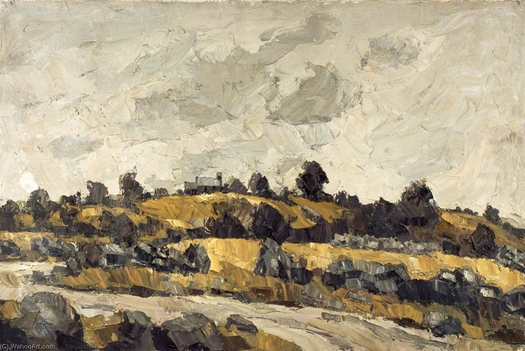 | campos amarillos bajo  Un  Gris  el cielo  de John Kyffin Williams | TopImpressionists.com